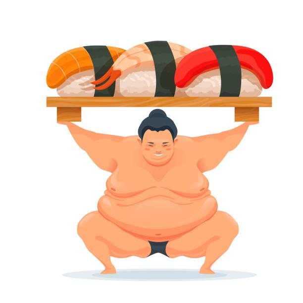 sumo-mann hält ein tablett mit verschiedenen sushi mit lachs, thunfisch. - sumo stock-grafiken, -clipart, -cartoons und -symbole
