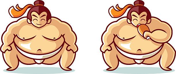 sumo mascot cartoon vector illustration - sumo stock-grafiken, -clipart, -cartoons und -symbole
