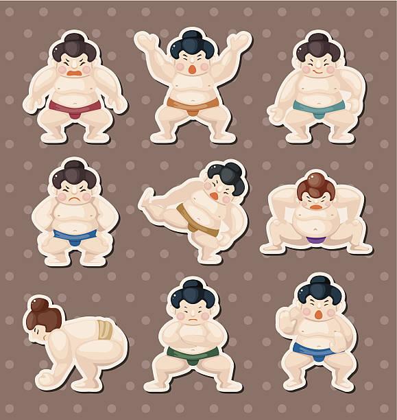 sumo-spieler aufkleber - sumo stock-grafiken, -clipart, -cartoons und -symbole