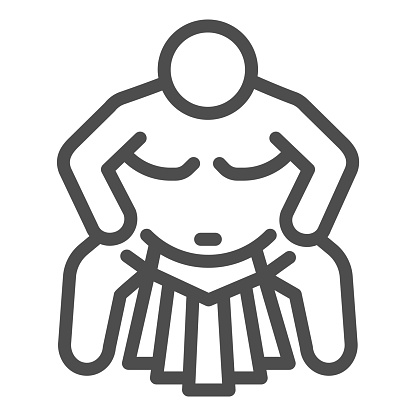 Sumo sportsman line icon, self defense concept, Sumo wrestling sign on white background, martial arts master icon in outline style for mobile concept and web design. Vector graphics.