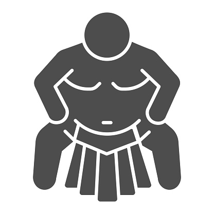 Sumo sportsman solid icon, self defense concept, Sumo wrestling sign on white background, martial arts master icon in glyph style for mobile concept and web design. Vector graphics.