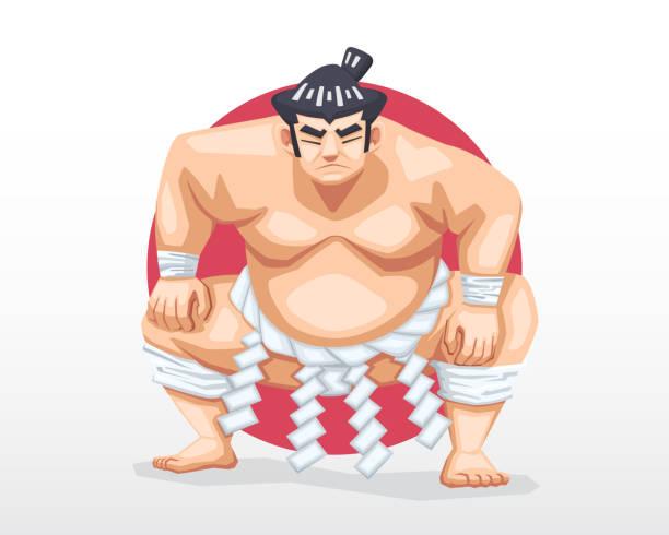sumo stehen in crouch haltung mit roten kreis als hintergrund illustration - sumo stock-grafiken, -clipart, -cartoons und -symbole