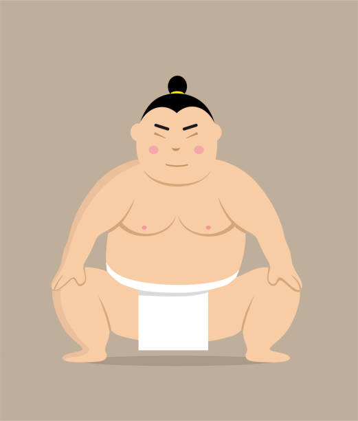 sumo-ringer-cartoon-stil - sumo stock-grafiken, -clipart, -cartoons und -symbole