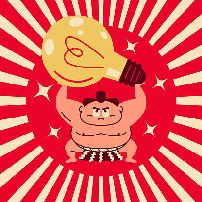 Sumo wrestler crouching, arms raised, lifting a big idea light bulb