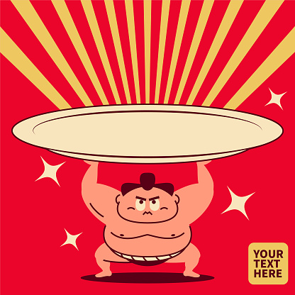 Sumo wrestler crouching, arms raised, lifting a super big empty plate