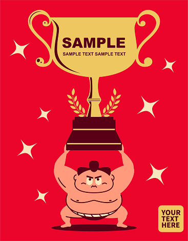 Sumo wrestler crouching, arms raised, lifting a super big Grand Sumo Tournament Trophy