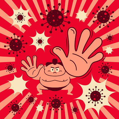 Sumo wrestler crouching giving palm attack to COVID-19 (Coronavirus, Bacterium, Virus)