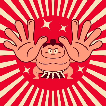 Sumo wrestler crouching giving palm attack