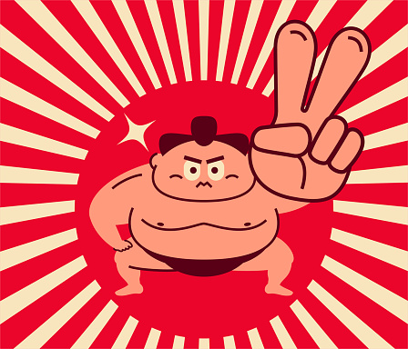 Sumo wrestler crouching with posture of one hand on knee and gesturing number 2 (victory or peace hand sign)