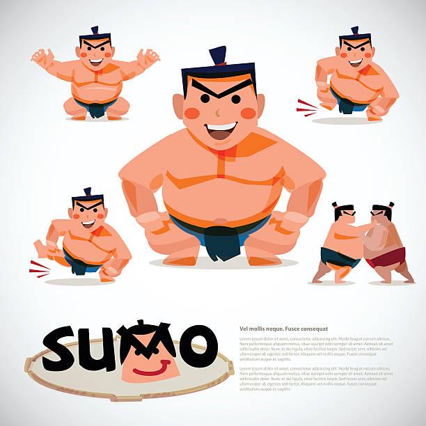 sumo-wrestler in aktion-vektor-design-set. charakter - sumo stock-grafiken, -clipart, -cartoons und -symbole