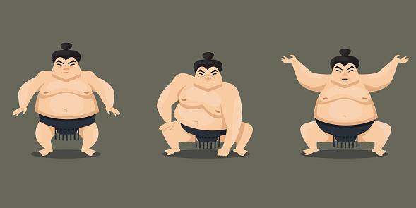 Sumo wrestler in different poses.