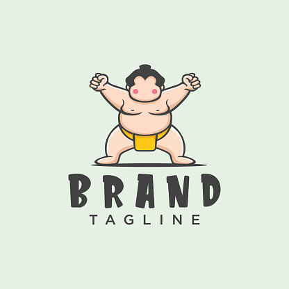 Sumo wrestler   sign. Fat, overweight man. Traditional sport of Japan. Branding Identity Corporate vector   design Flat Style