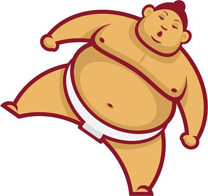 Sumo wrestler with raised leg