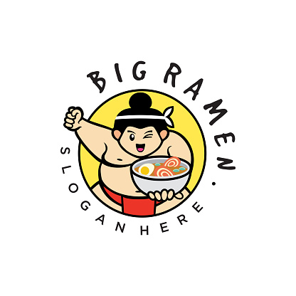 Sumo wrestlers. Japanese Noodle  Design Flat Style. Sumo fighter with a bowl of ramen with chopsticks.Big Soup Ramen