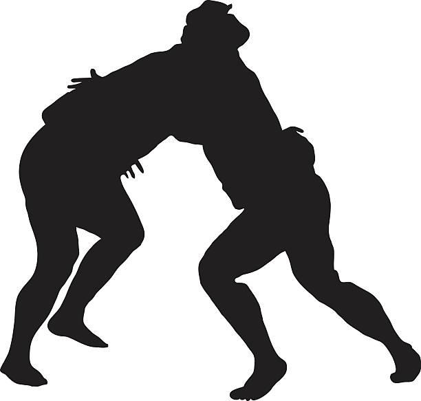 sumo-ringen silhouette - sumo stock-grafiken, -clipart, -cartoons und -symbole