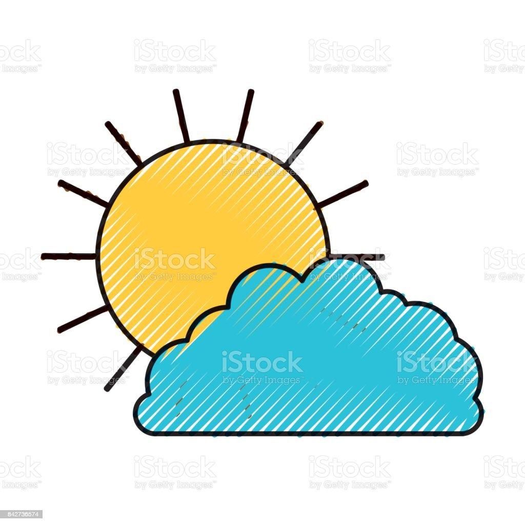 Güneş Ve Bulut Renkli Crayon Siluet Stok Vektör Sanatı Arka