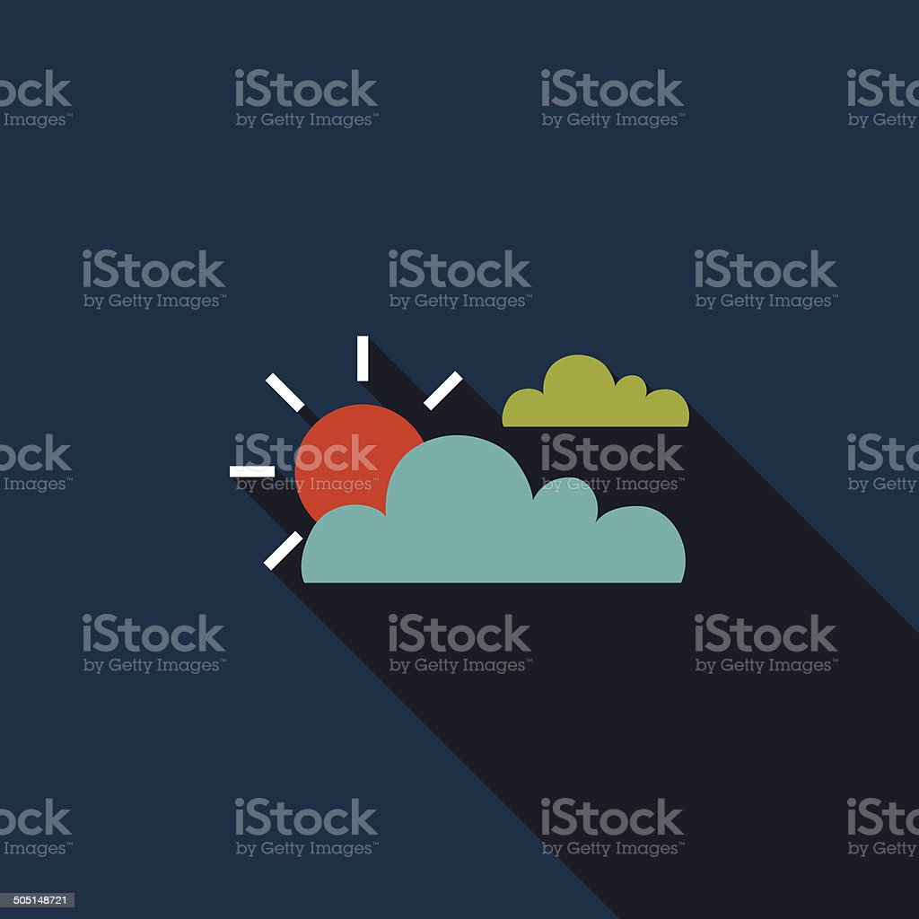 Sun and Cloud flat icon with long shadow royalty-free stock vector art