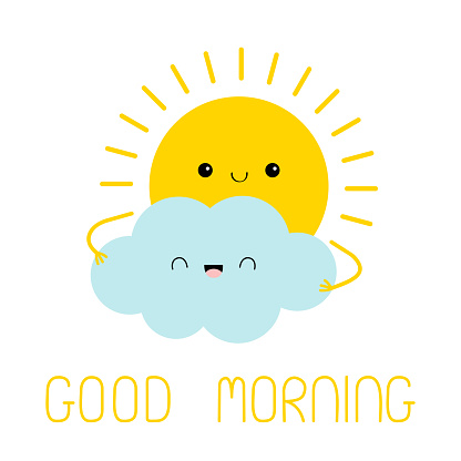 Sun and cloud friend icon. Good morning. Cute kawaii face. Cartoon funny smiling character. Hello summer. Sunshine. Yellow color. Baby collection. Flat design. White sky background. Isolated.