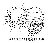 Sun And Cloud Symbol Hugging Each Other Drawing