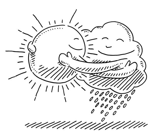 Sun And Cloud Symbol Hugging Each Other Drawing Hand-drawn vector drawing of a Sun And Cloud Symbol Hugging Each Other. Black-and-White sketch on a transparent background (.eps-file). Included files are EPS (v10) and Hi-Res JPG. environment stock illustrations