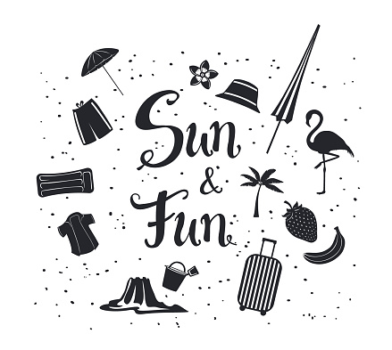 sun and fun  hand written summer time travel silhouette poster