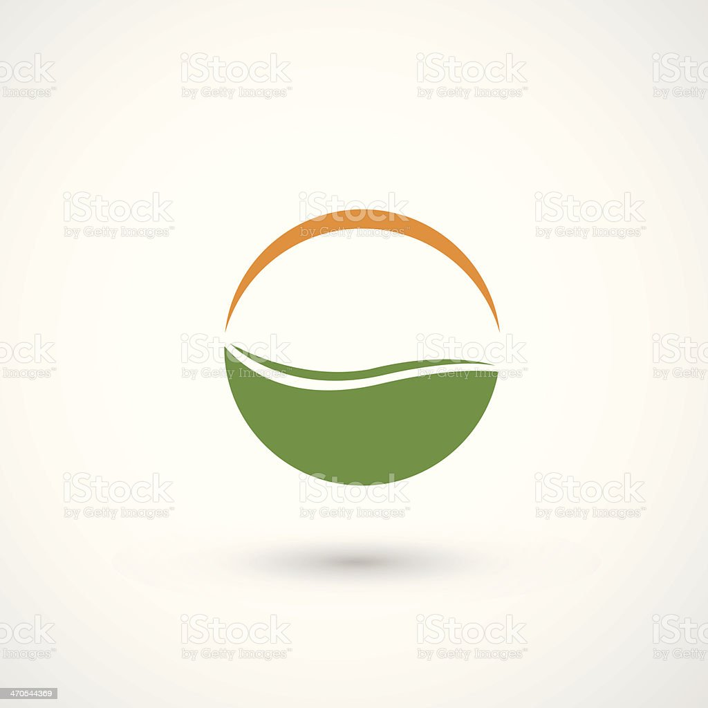 sun and grass eco icon vector art illustration