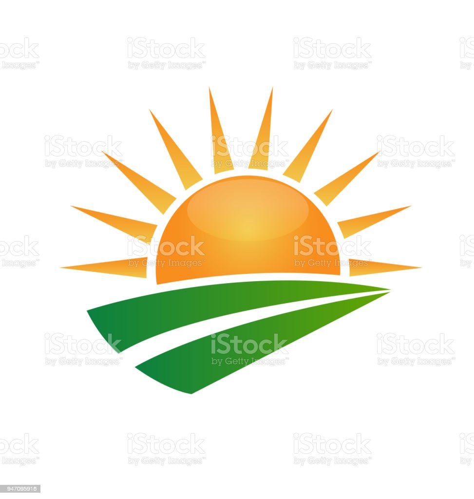 sun and green road swoosh vector icon identity id card template