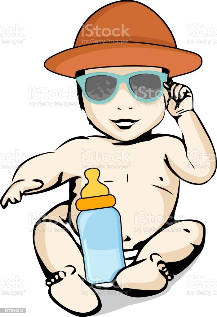 Sun and heat protection for babies vector art illustration