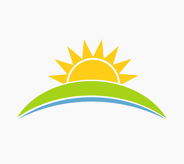 sun and hill landscape symbol - sunrise stock illustrations, clip art, cartoons, & icons