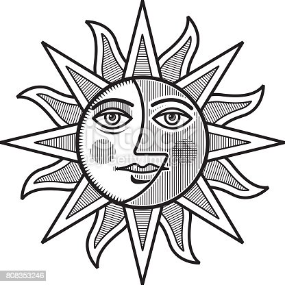 Sun And Moon Face Vector Illustration Mono Stock Art More Images Of Classical Style 808353246