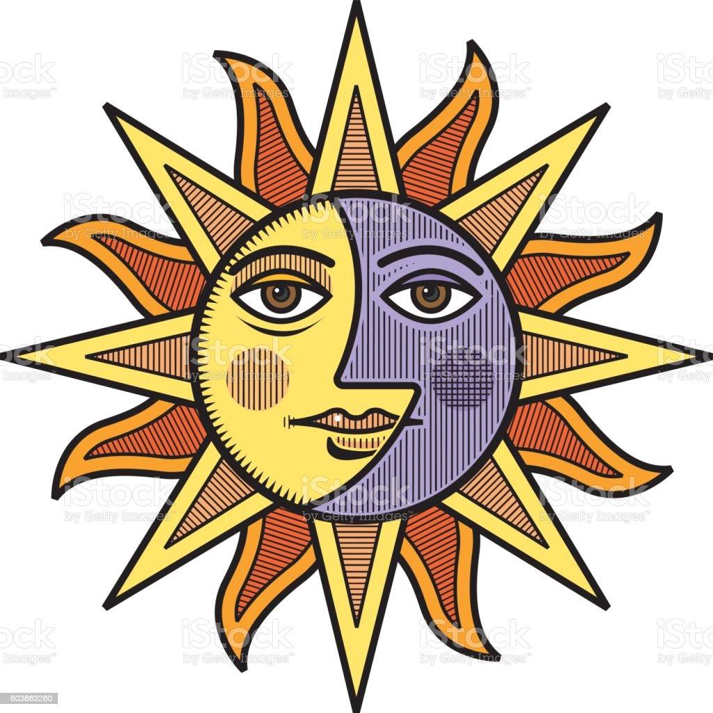 sun and moon face vector illustration stock vector art more images rh istockphoto com Cartoon Sun Cartoon Sun with Face