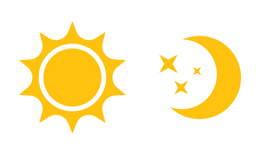 Sun and moon flat icon. Vector icon,  for web design, mobile and infographics