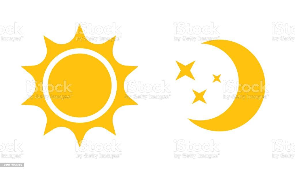 太陽と月のフラット アイコン。Web デザイン、モバイル、インフォ グラフィックのためのベクトル アイコン ベクターアートイラスト