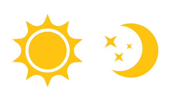sun and moon flat icon. vector icon,  for web design, mobile and infographics - moon stock illustrations, clip art, cartoons, & icons