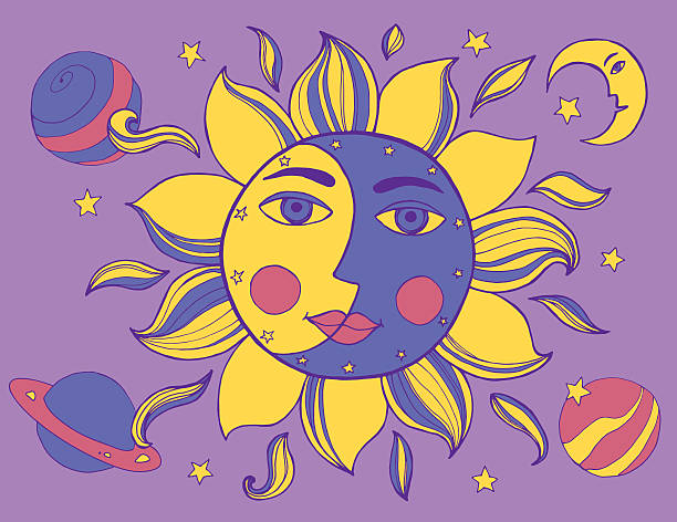 Sun and moon in one face. Alchemy vector illustration Sun and moon in one face. Alchemy vector illustration arcane stock illustrations