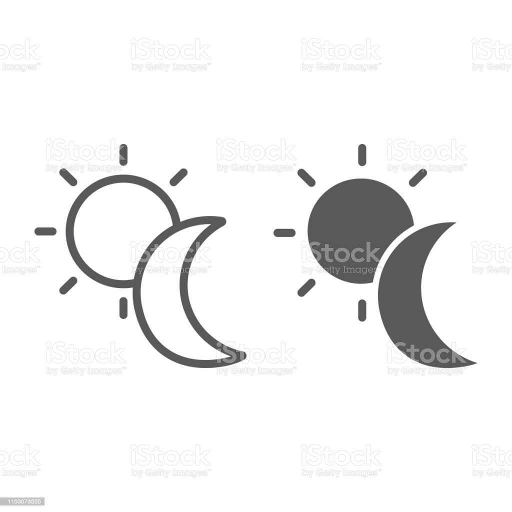 Sun and moon line and glyph icon, weather and nature, day and night...