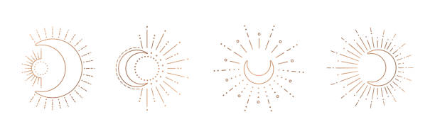 Sun and moon line art clipart. Outline sun logo, moon tattoo. Vector sun and moon line design. Outline suns symbols, moon element icon set isolated on white background. moon surface stock illustrations