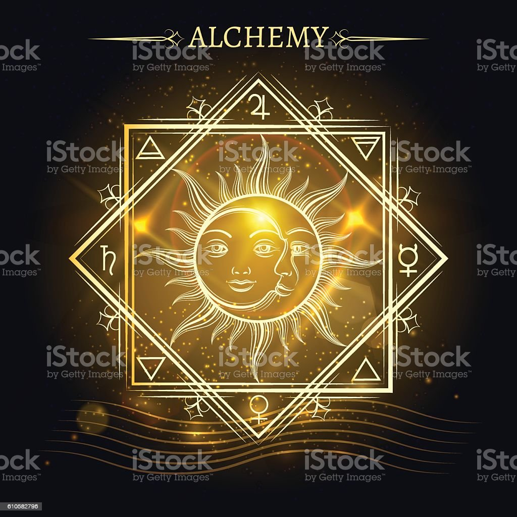 Sun and moon on shiny background - ilustración de arte vectorial
