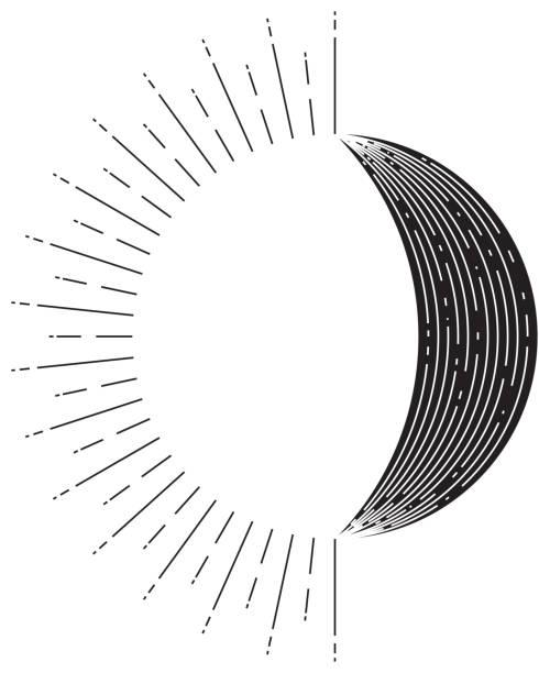 太陽和月亮標誌, 抽象元素 - 新月 幅插畫檔、美工圖案、卡通及圖標