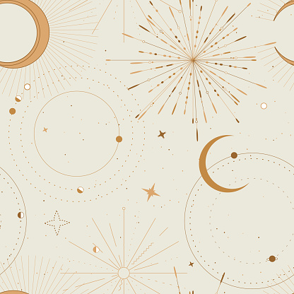 Sun and moon tarot sign seamless pattern design , celestial frawing, gold print . Eclipse decorative surface cover, boho tarot sacret geometry frame
