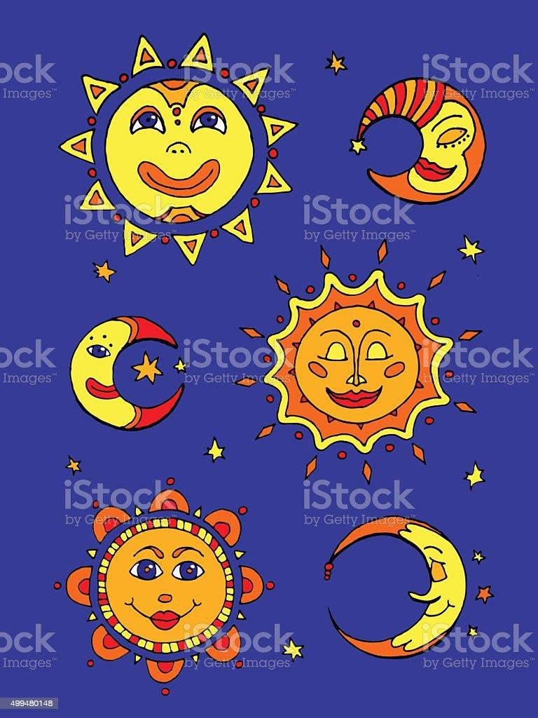 Sun and moon vector art illustration