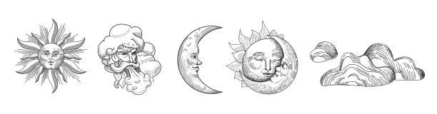 太陽和月亮復古系列。東方風格的設計與明星和天體符號的織物, 壁紙, 裝飾。向量例證 - 月亮 幅插畫檔、美工圖案、卡通及圖標