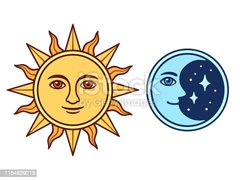 Sun and moon characters with smiling face, vintage color drawing. Isolated vector illustration of antique style celestial symbols.