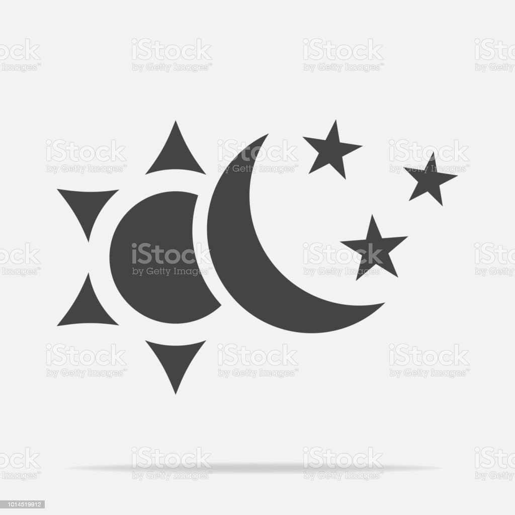 Sun And Moon With Stars Vector Icon The Symbol Of The Change Of Day