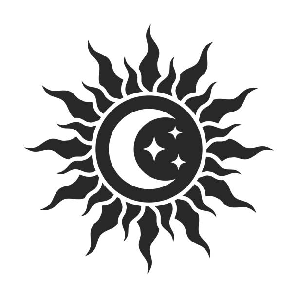 ilustraciones, imágenes clip art, dibujos animados e iconos de stock de el sol y luna con estrellas. - tatuajes de luna