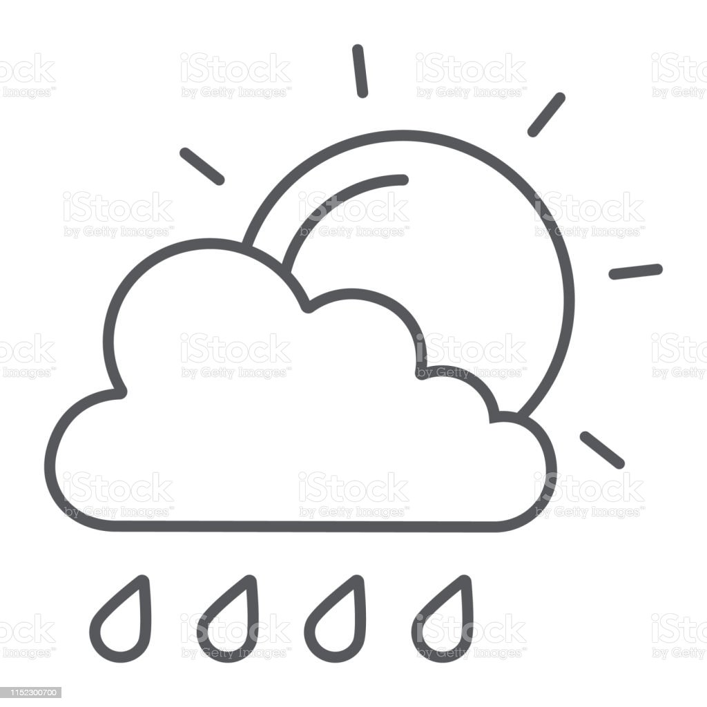 Sun and rain thin line icon, weather and forecast, cloud and sun...