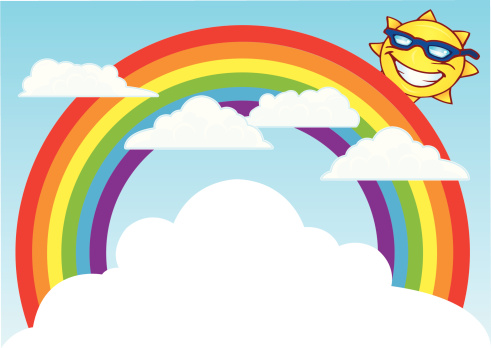 Sun and Rainbow with Clouds Background