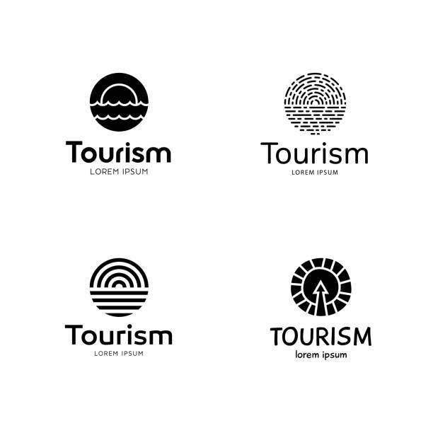 zestaw szablonów do projektowania słońca i morza - horyzont stock illustrations