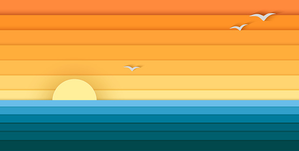 Sun and Sea from Paper, Modern Banner For Design