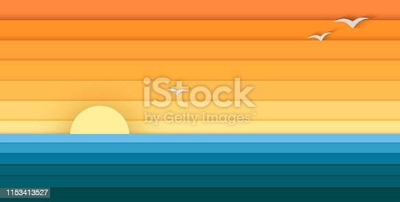 Sun and Sea from Paper, Modern Banner For Design, vector